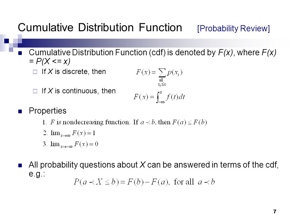 Cumulative Distribution Function [Probability Review]